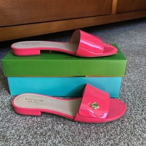 Kate Spade Patent Leather Farrow Slides Peony